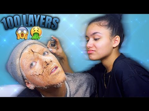 100 Layers Of Foundation & Powder On My BF! 🤮🤮🤮