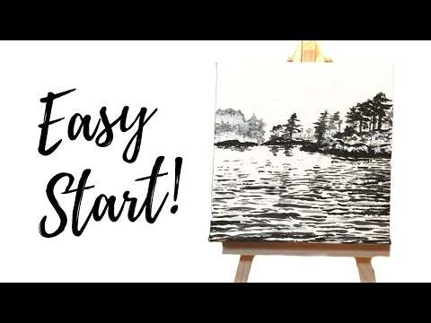 Seascape Painting Acrylic on Mini Canvas (Time-lapse)