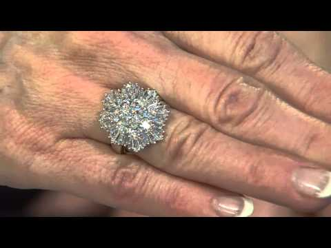 The Elizabeth Taylor 3.70cttw Simulated Diamond Cluster Ring with Mary Beth Roe