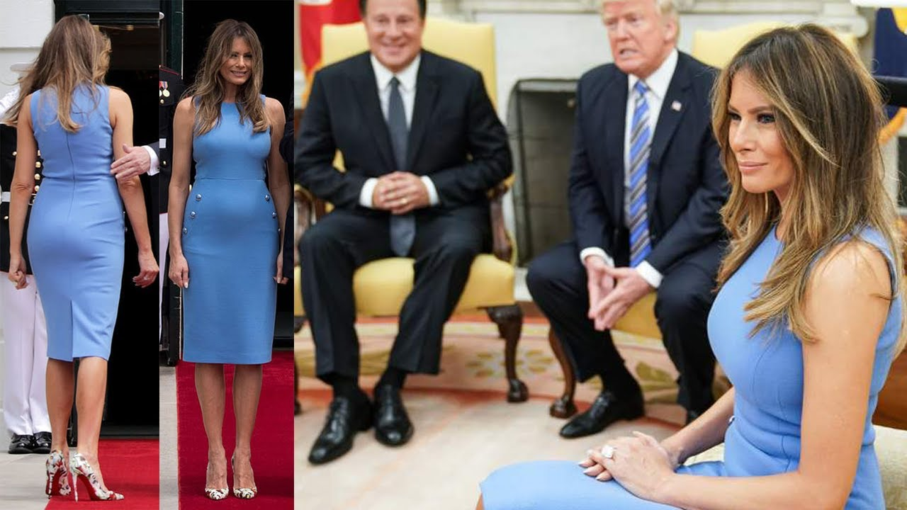 First Lady Melania Trump S Ed Blue Dress By Michael Kors