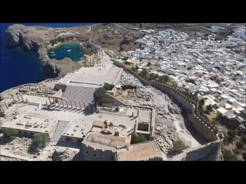 The Acropolis of Lindos and Saint Paul's Bay in Lindos, Rhodes