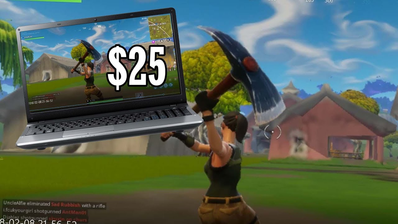 Playing Fortnite On A 25 Laptop Youtube