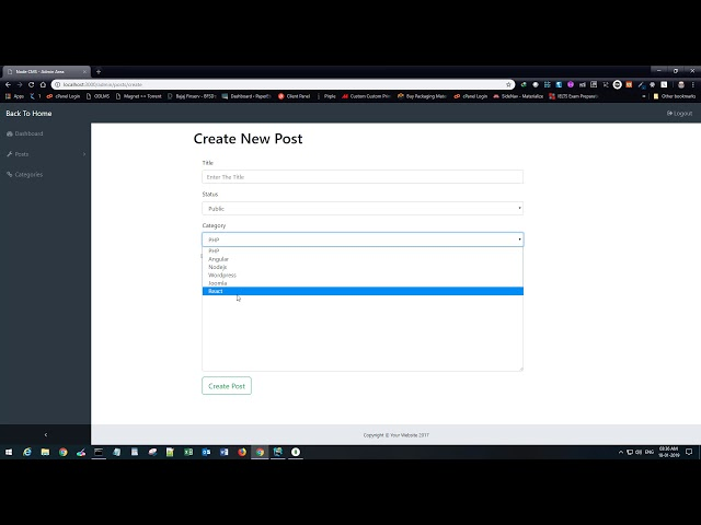 Nodejs CMS Tutorial For Beginners - Part 13 - Show and save categories on Create Post Page