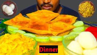EATING LUCHI (PURI) RASGULLA ALU BHAJI || FOOD EATING SHOW