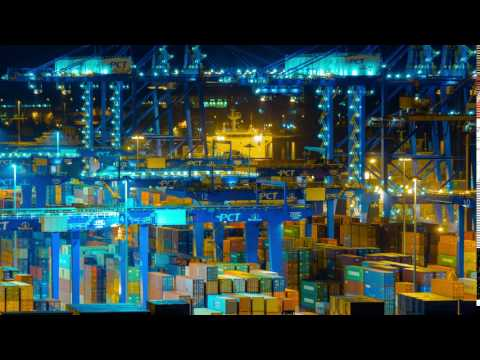4k trading port logistics crane activity night timelapsetimelapse sequence of machinery handling car