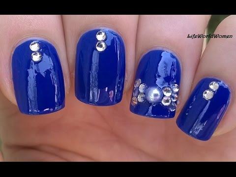 Elegant Blue Rhinestone 3D BOW NAIL ART For Short Nails