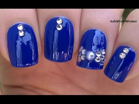 Elegant blue rhinestone 3d bow nail art for short nails youtube prinsesfo Image collections