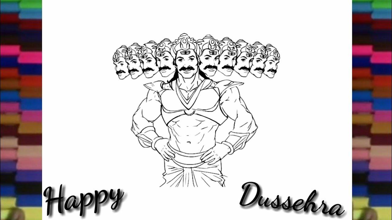 how to draw ravan for kids dussehra greeting sketch drawing