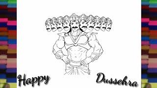 How to draw Ravan for kids - dussehra greeting sketch drawing