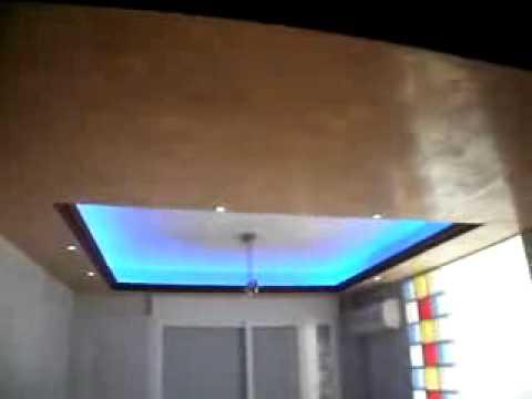 Falso techo con tira led rgb y empotables leds youtube - Falso techo decorativo ...