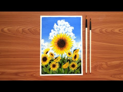 Simple sunflower landscape painting tutorial for beginners ~ Sunflower field Acrylic painting