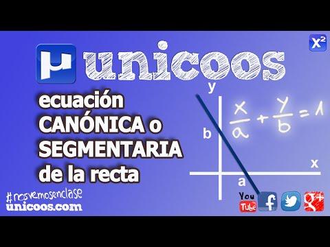 Ecuación canónica o segmentaria de la recta SECUNDARIA unicoos