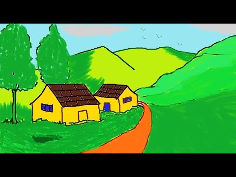 How to draw a Scenery in MS Paint | Simple Painting in MS Paint | Learn drawing easy | ComeTube