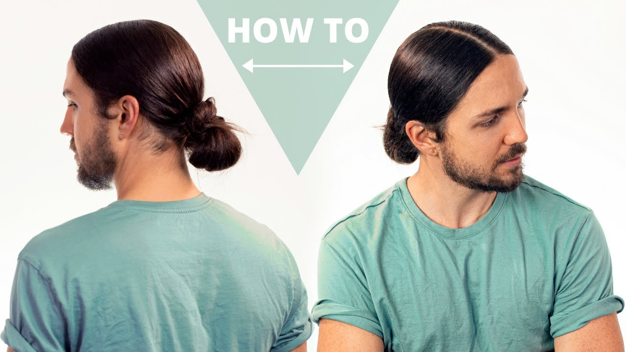 How To Do A Sleek Man Bun With Middle Part Youtube
