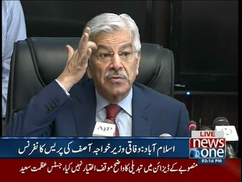 Khawaja Asif addresses media personnel in Islamabad