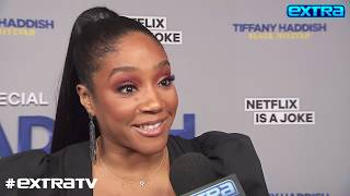 """""""extra"""" caught up with tiffany haddish at the premiere of her stand-up special """"black mitzvah,"""" where she celebrated 40th birthday. showing off star ..."""