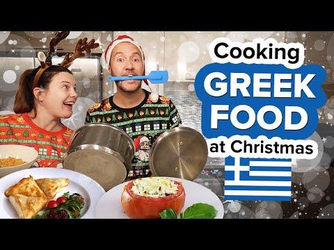 We tried Cooking Greek Food at Christmas. Holiday Feast! Gemista + Tiropita & Tzatziki 😋 🎄 🇬🇷