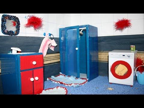 Cмотреть онлайн Ванная комната Обзор Домика для кукол.House for dolls Barbie .Как сделать ванну для кукол
