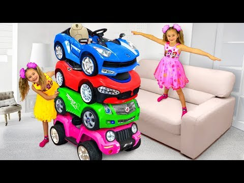 Sasha and Twins Ride on Magic Toy cars an turn each other in Little Kids