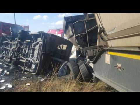 20 children killed after mini bus crash into truck and EXPLODED, Mpumalanga, Pretoria, South Africa,