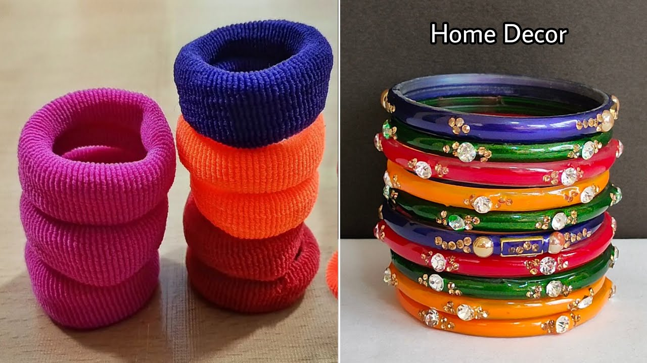 DIY Super Easy Home Decor Idea using Waste Bangle and Hair band - DIY Crafts using waste material