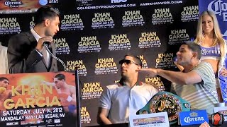 AMIR KHAN & ANGEL GARCIA HAVE HEATED BACK & FORTH EXCHANGE DURING PRESS CONFERENCE!