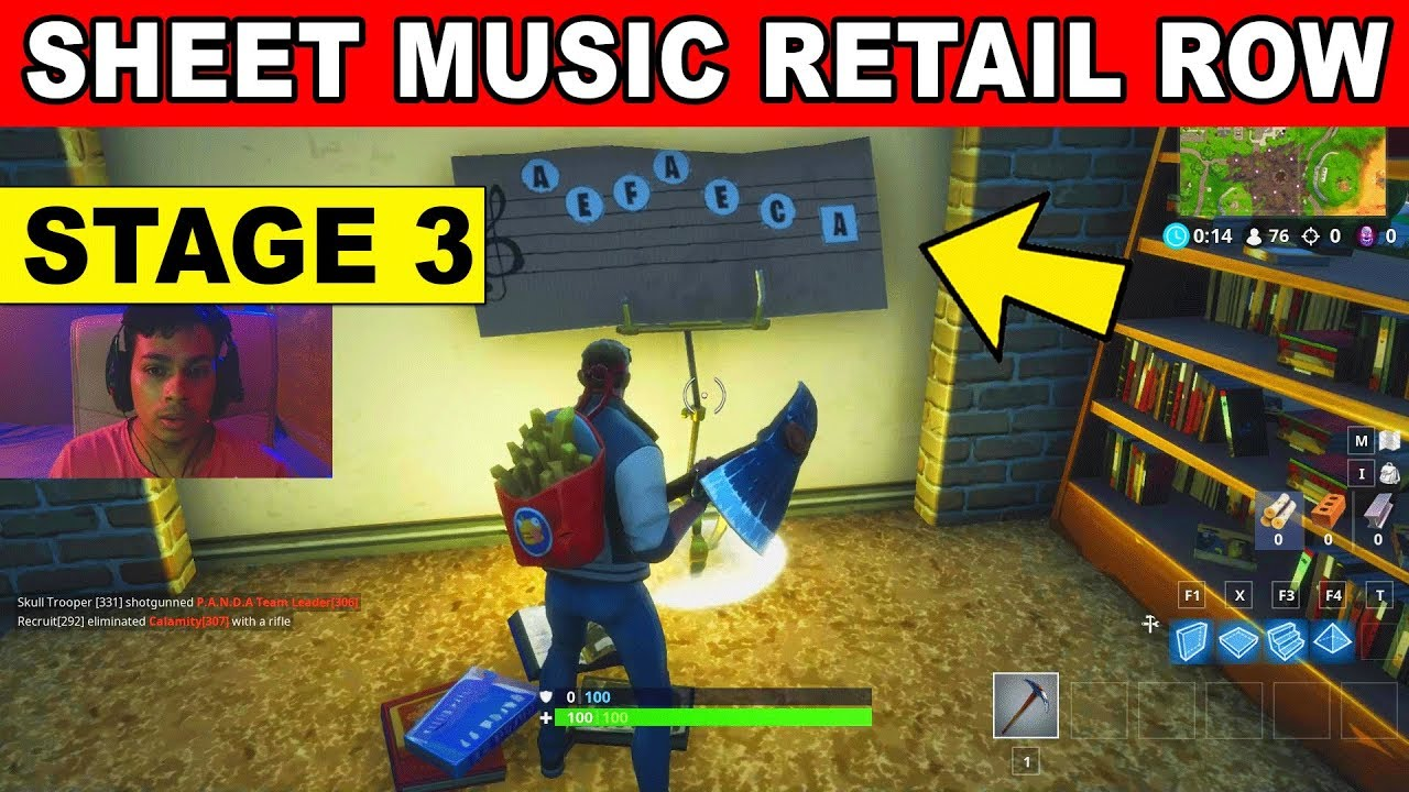 Stage 3 Find The Sheet Music In Reatil Row Location Week 6 Challenges Fortnite Season 6 Youtube