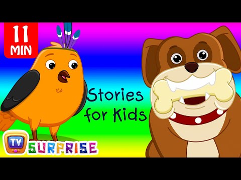 Thumbnail: Two Bedtime Moral Stories for Kids in English - Birds & Hunter + Dog & Bone - ChuChu TV Surprise