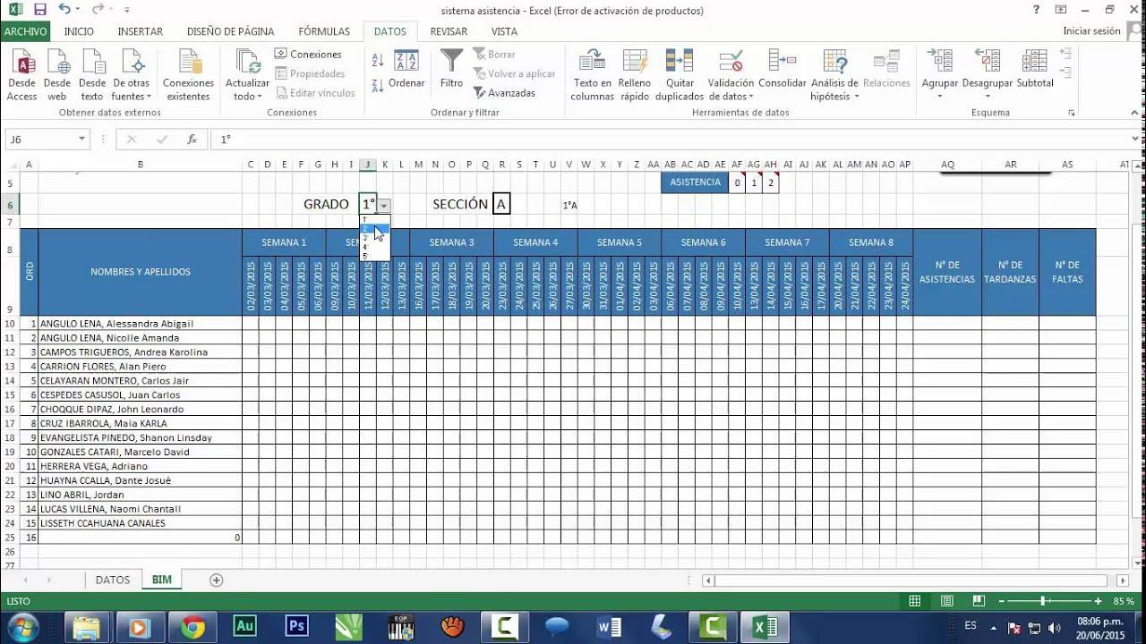 formato lista de asistencia laboral
