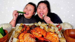 GIANT LOBSTER TAIL SEAFOOD BOIL + GIANT SHRIMP + SNOW CRAB LEGS + CLAMS MUKBANG 먹방 EATING SHOW!