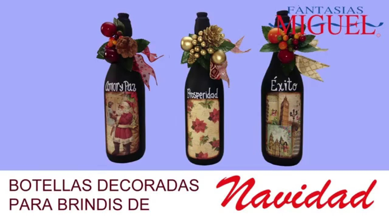 Botellas decoradas para brindis de navidad youtube - Botellas de plastico decoradas ...