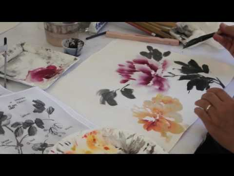 Painting Peony Flowers with Henry Li (2014 Workshop)