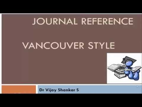 JOURNAL REFERENCE : VANCOUVER STYLE