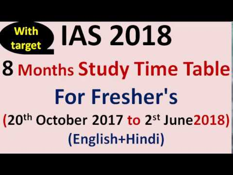 IAS 2018 =8 Months(Full PT+ Mains) STUDY Time Table for New IAS Aspirants (Eng+Hindi Med)