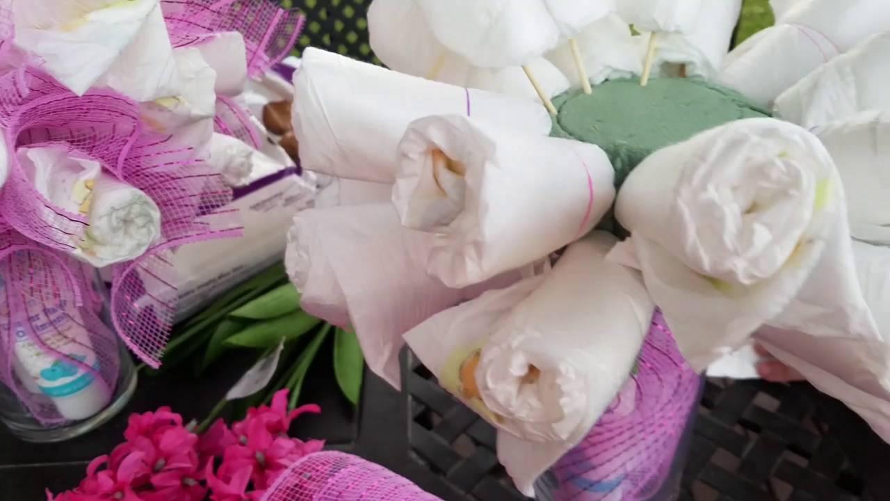 Diaper bouquet 💐👶🍼 - YouTube