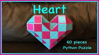 Smiggle Python Puzzle or Magic Ruler Twisty Snake Puzzle 60:How to Make a 3D Heart Shape