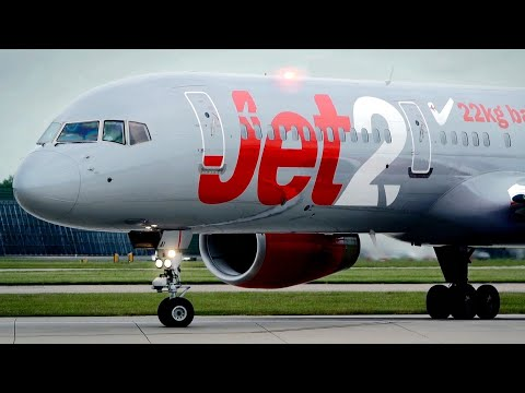 Close Lineup! Jet2 Boeing 757-200 [G-LSAI] Take off from Manchester Airport