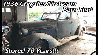 Barn Garage Find! RARE 1936 Chrysler Airstream C8 Convertible Sitting For 65 years!