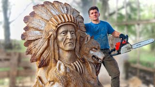 AMAZING CHAINSAW wood carving, Native American with wolves