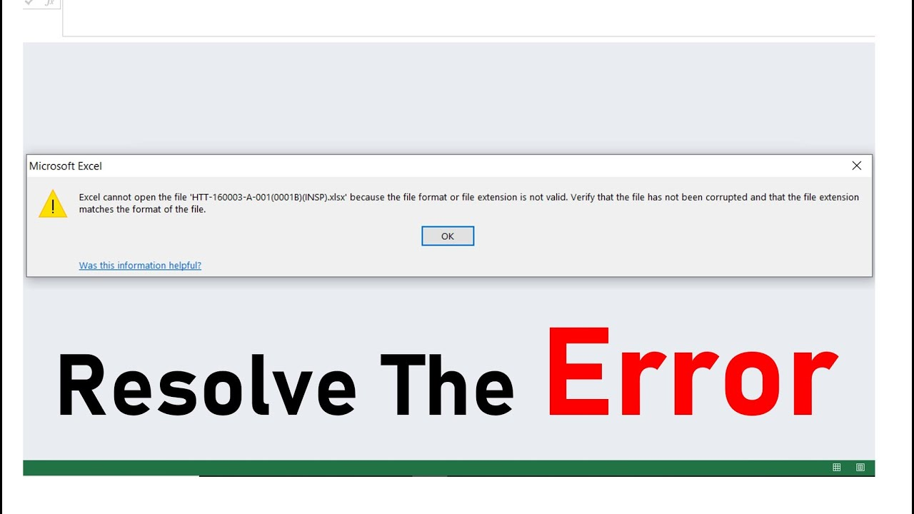 Excel can't open  file , Format/File Extension Is Not Valid/Corrupted [Solved]