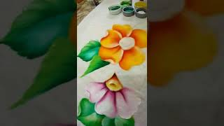 Pintando hojas en tonos fríos✨ | Pintura en tela