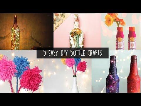 5 Easy Bottle Arts | Home Decor | Desk Decor Ideas
