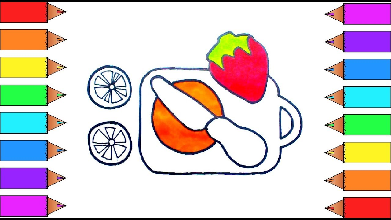 Coloring book kitchen - Baby Toy Kitchen Chopping Board And Fruits Coloring Book And Drawing For Kids