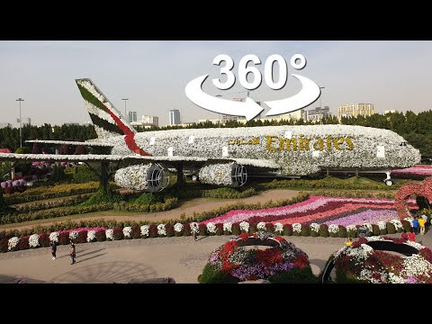 Dubai Miracle Garden, Emirates Airbus A380, VR 360 Video