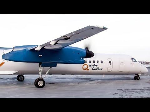 Hydro-Québec Bombardier Dash-8 Q400 (DH8D) Engine start + departing Montreal (YUL/CYUL)