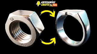 💍 COMO HACER ANILLO SELLO INOX CON TUERCA 💍 HOW TO MAKE INOX SEAL RING WITH NUT
