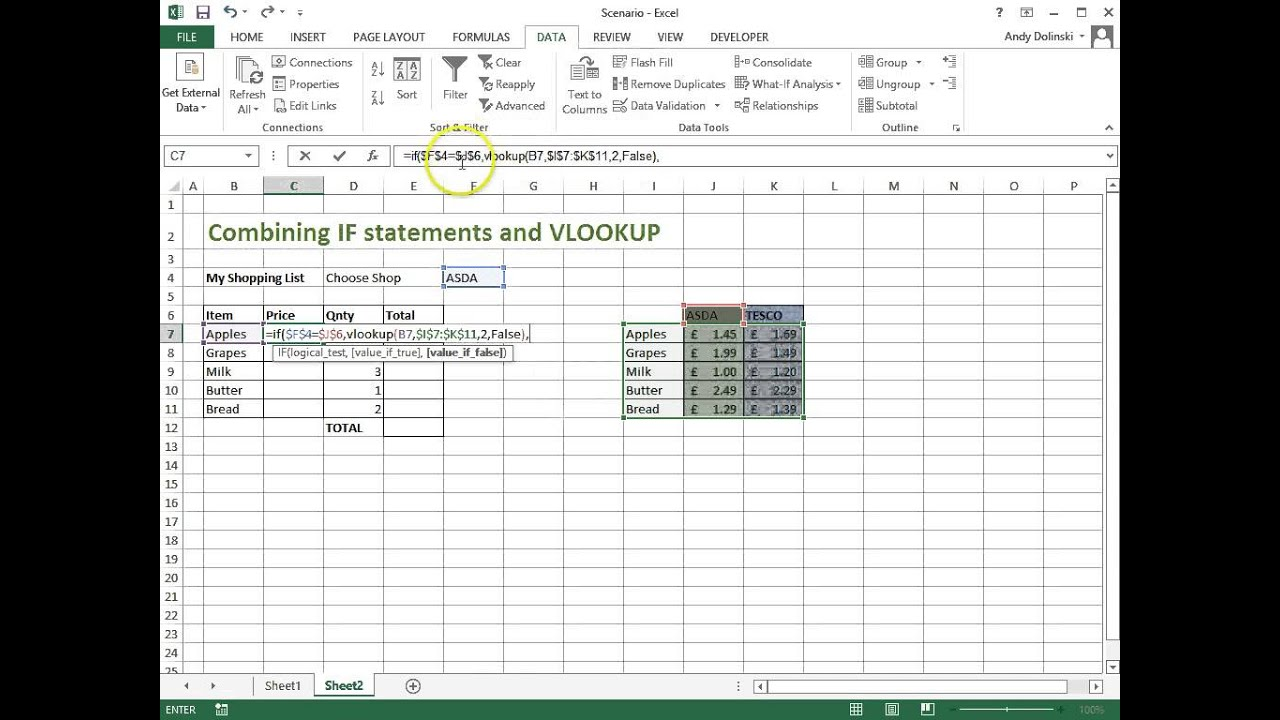 IF Statements With VLOOKUPs -- Microsoft Excel