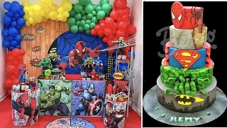 تنسيقات لحفلات لابطال الخارقين باتمان وسوبرمان وسبايدرمان Superman Batman Cake Youtube Birthday Cake Birthday Cake