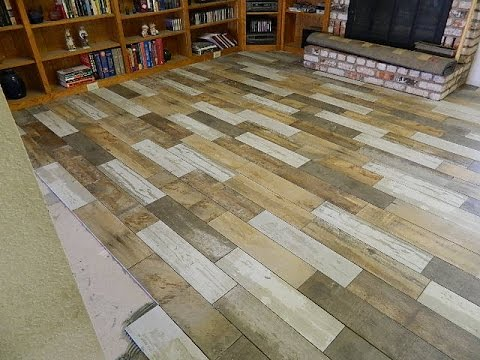 How To Lay A Tile Floor Reclaimed Wood Look Youtube