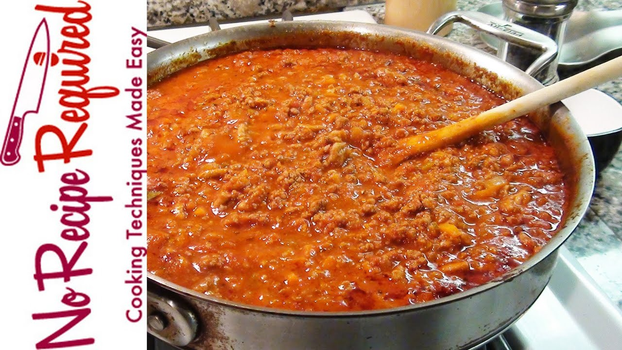 Bolognese Sauce - Spaghetti Sauce - NoRecipeRequired.com - YouTube